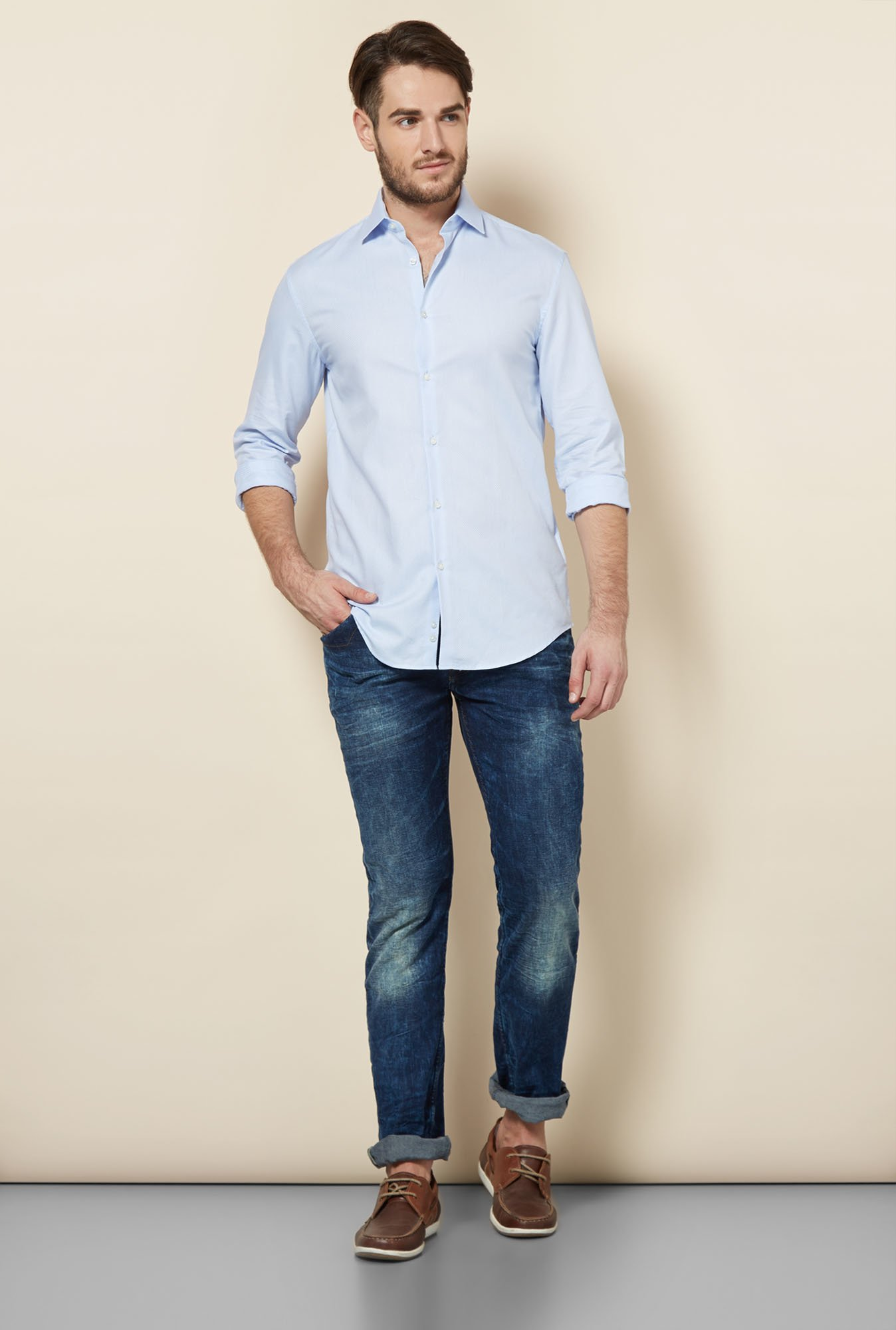 celio* Blue Self Printed Slim Fit Casual Shirt