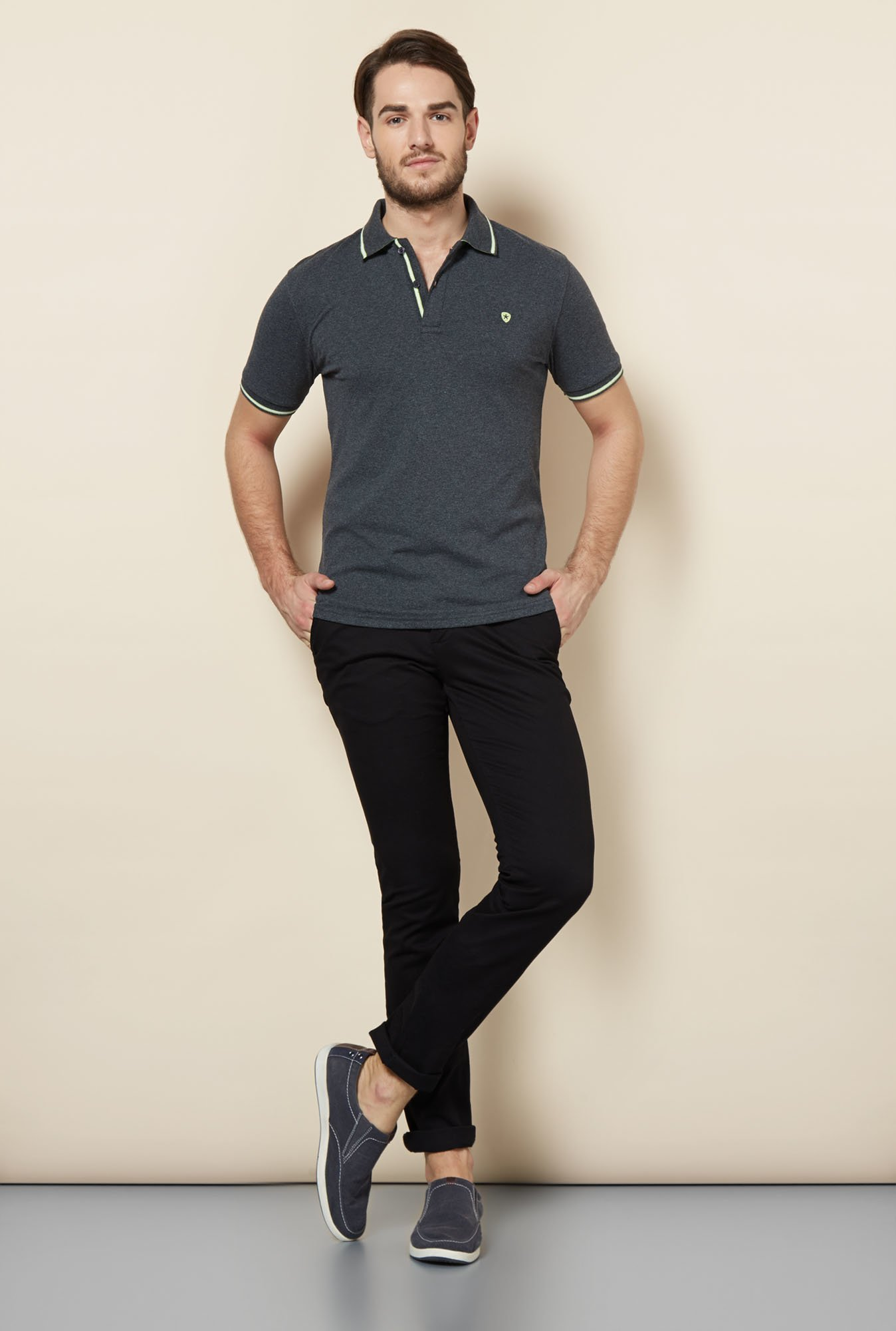 celio* Black Solid Chinos