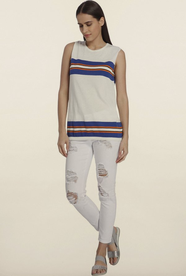 Vero Moda Snow White & Blue Striped Top