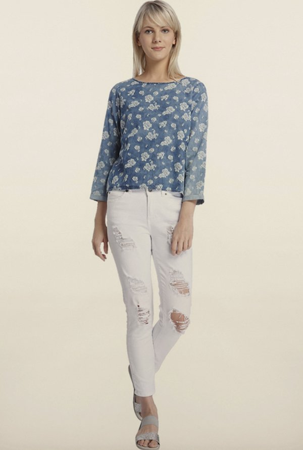 Vero Moda Blue Printed Cotton Top