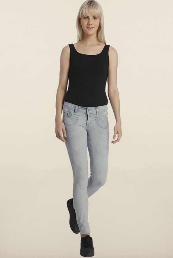 Vero Moda Blue Denim Solid Jeans