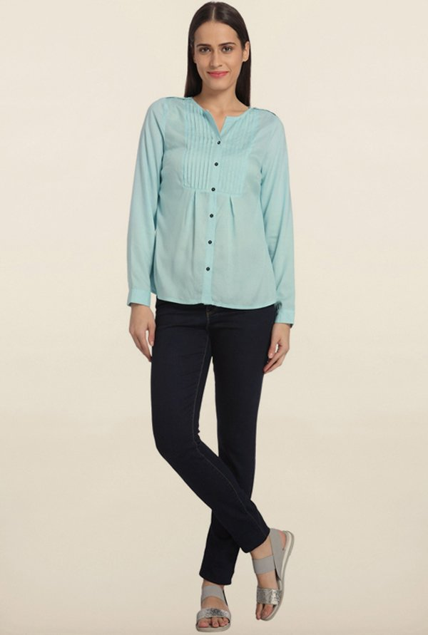 Vero Moda Canal Blue Solid Casual Shirt