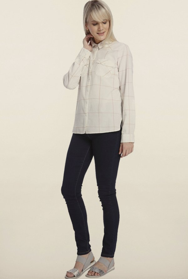 Vero Moda White Checks Casual Shirt