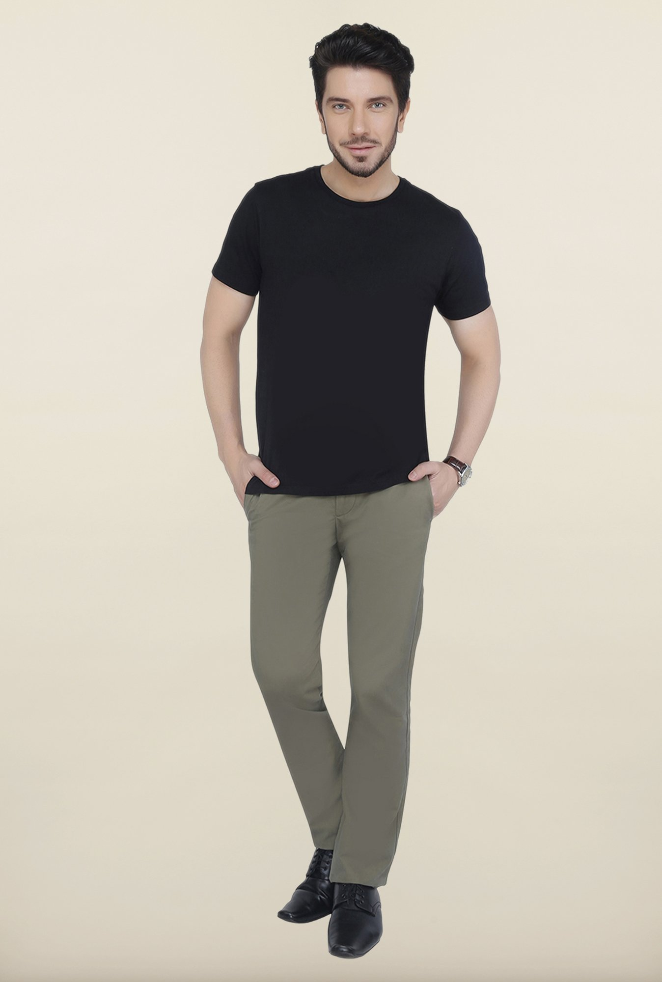 Cottonworld Olive Solid Cotton Trouser