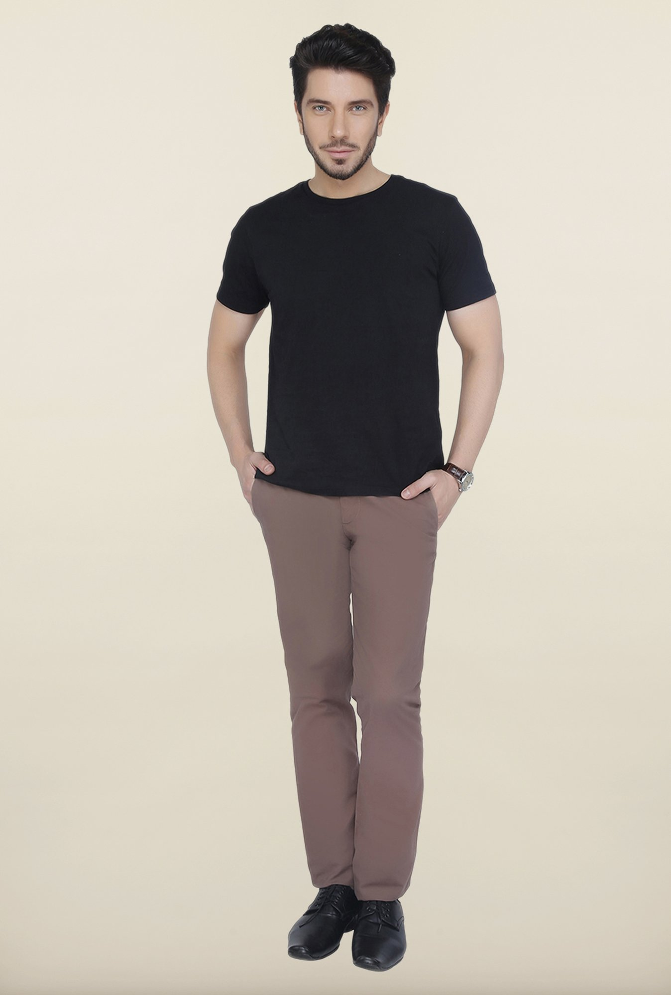 Cottonworld Brown Solid Cotton Trouser