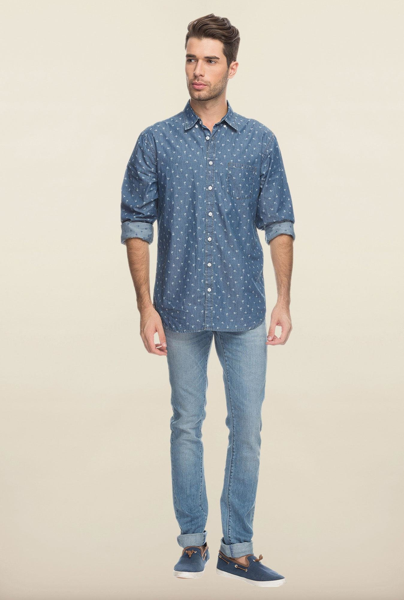 Cottonworld Blue Printed Casual Shirt