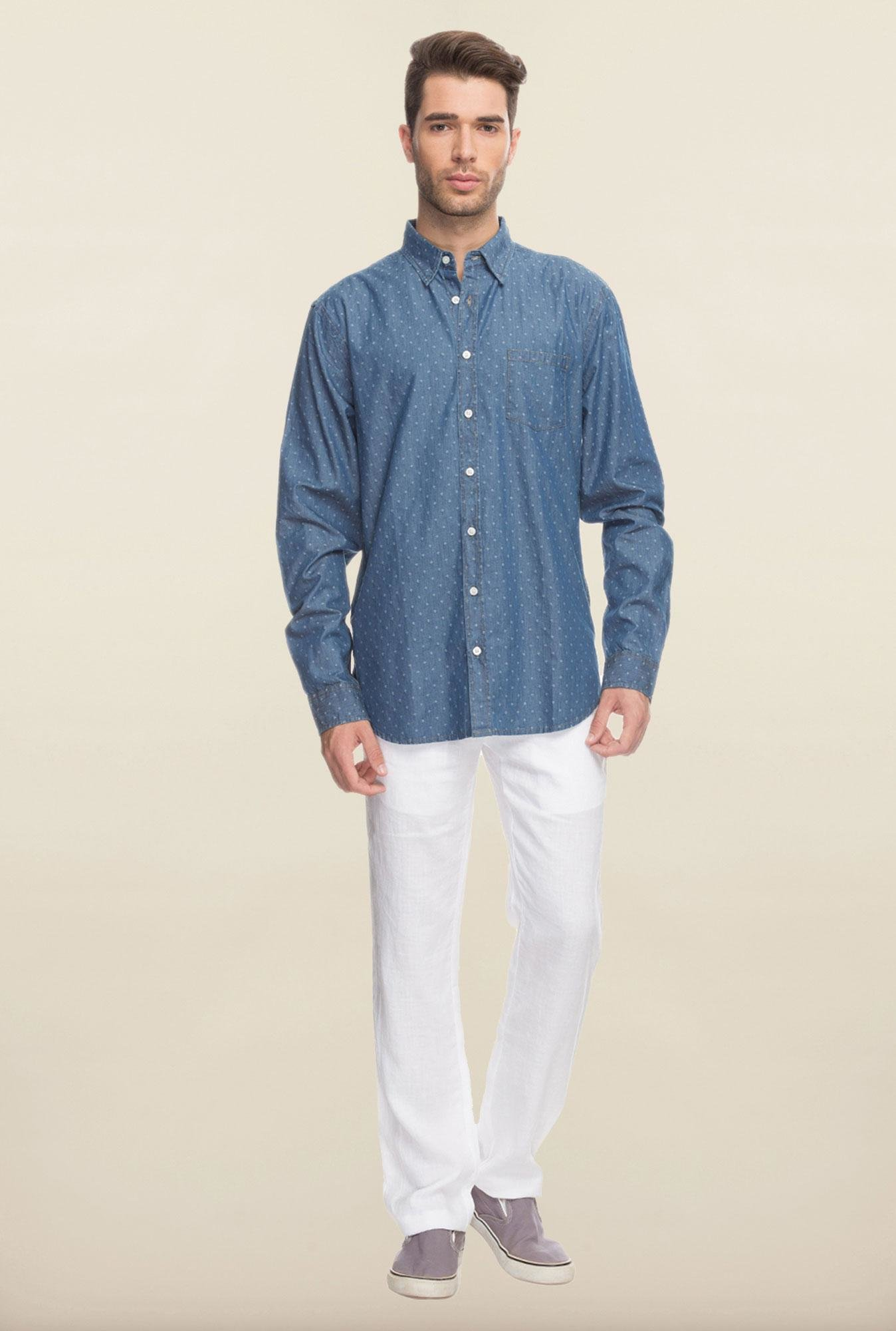 Cottonworld Blue Printed Denim Casual Shirt
