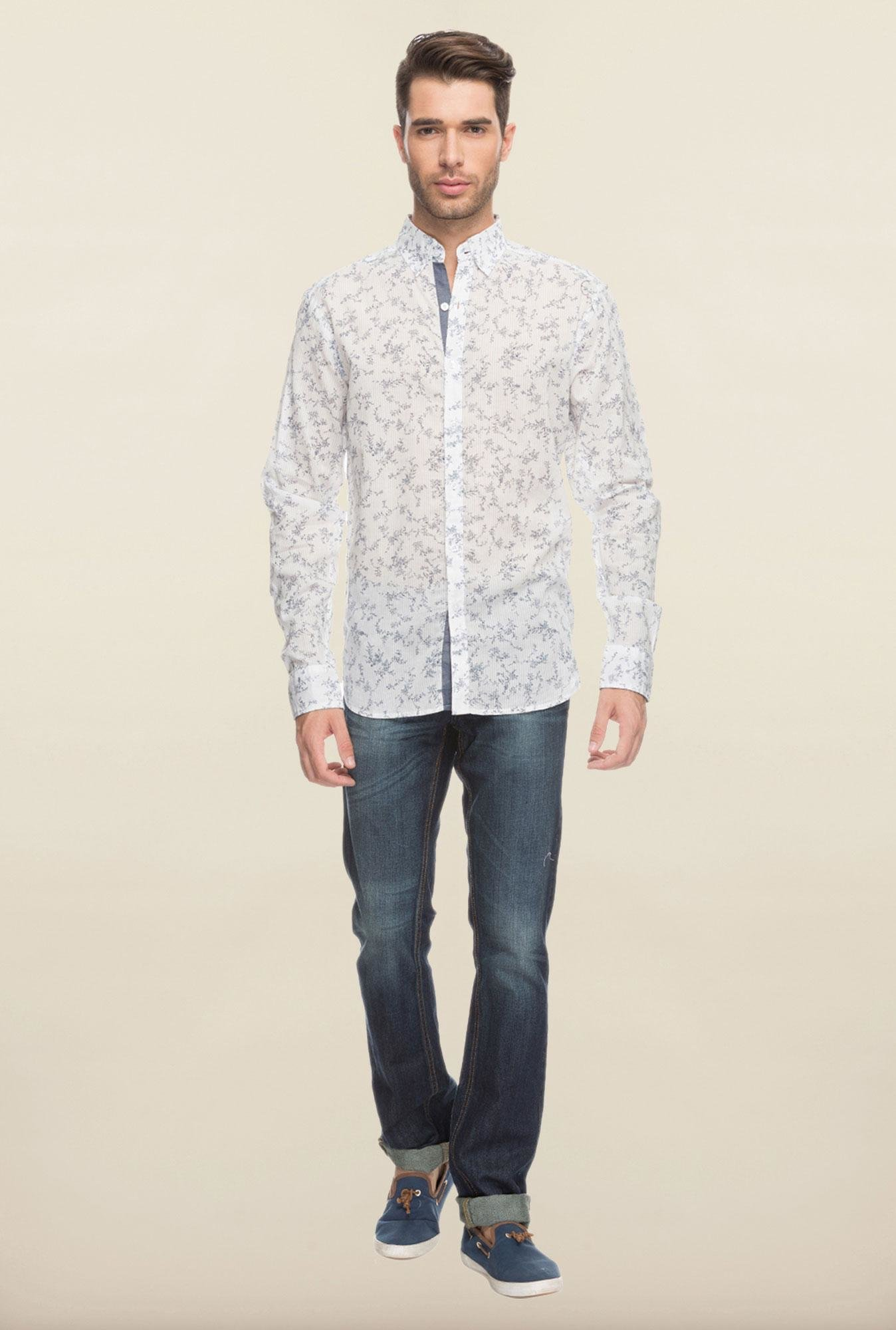 Cottonworld White Printed Shirt