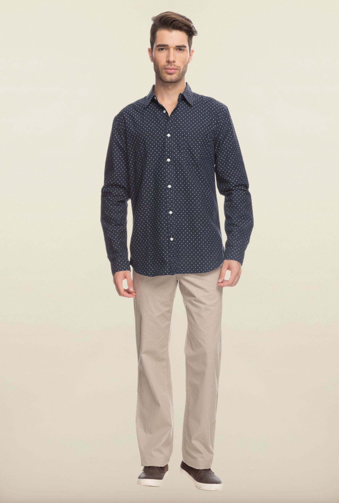 Cottonworld Navy Printed Casual Shirt