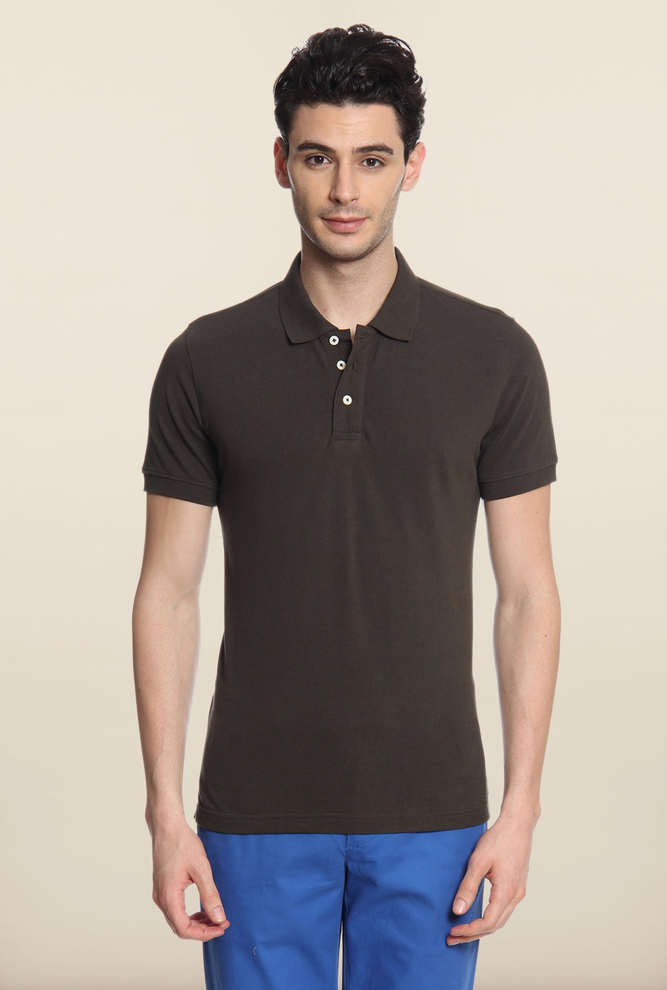 Cottonworld Dark Brown Solid Polo T-Shirt
