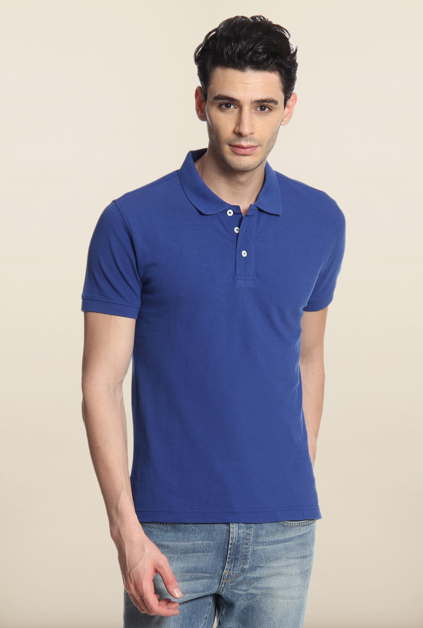 Cottonworld Blue Solid Polo T-Shirt