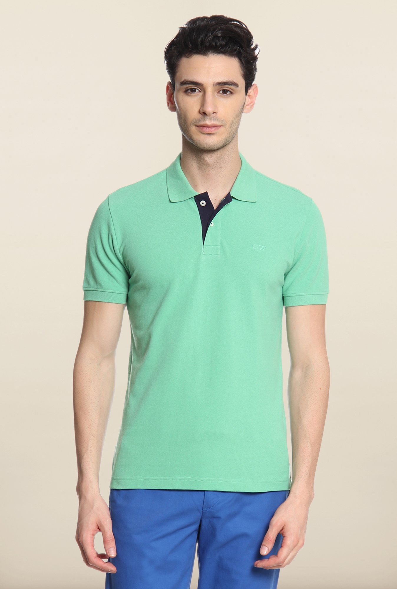 Cottonworld Sea Green Solid Polo T-Shirt