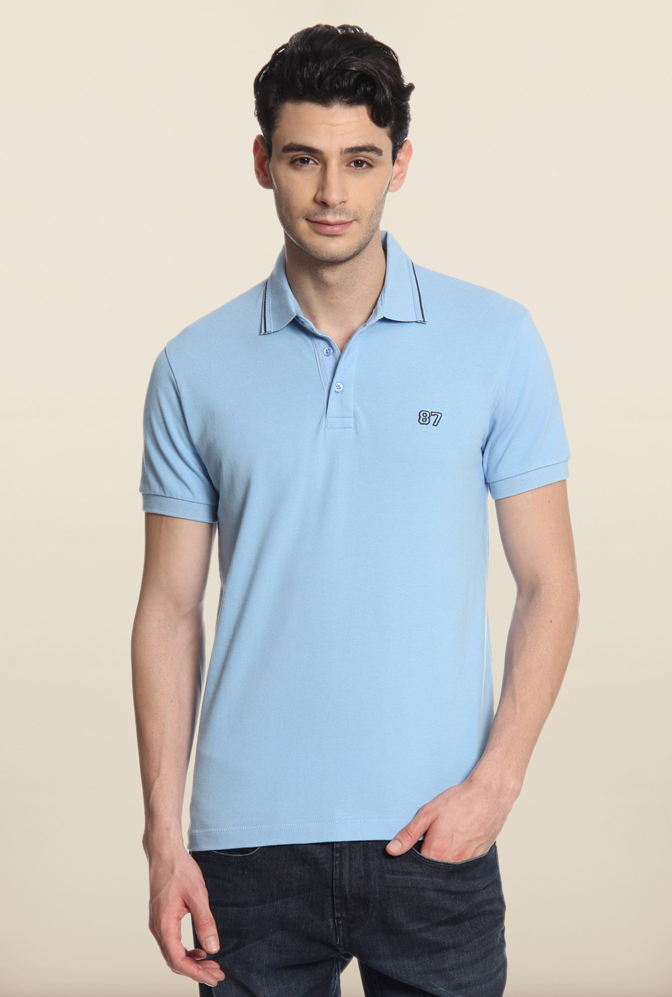 Cottonworld Sky Blue Solid Polo T-Shirt