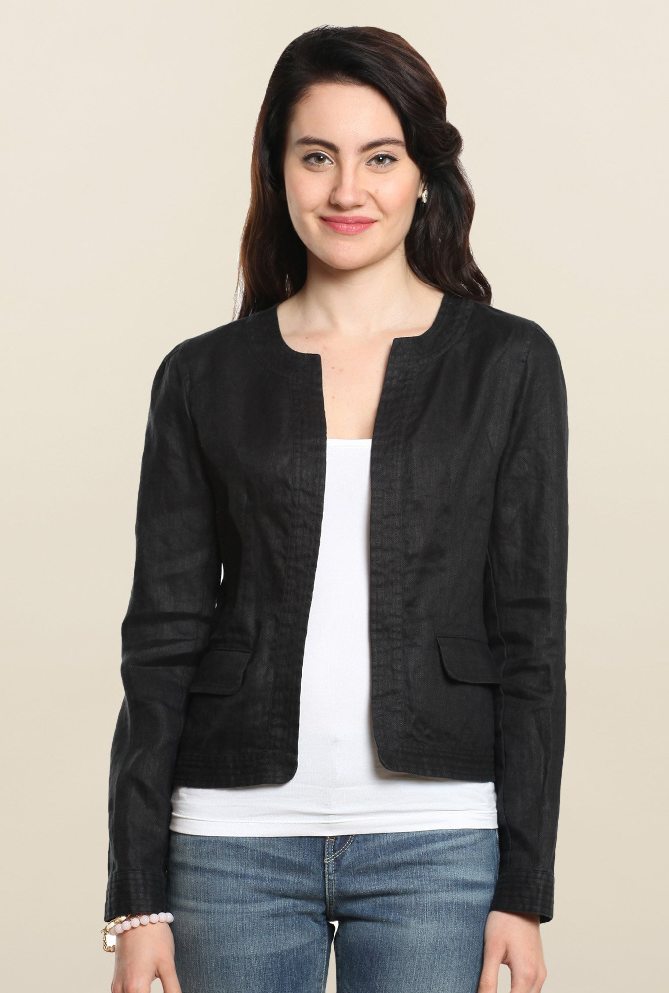 Cottonworld Black Solid Linen Jacket