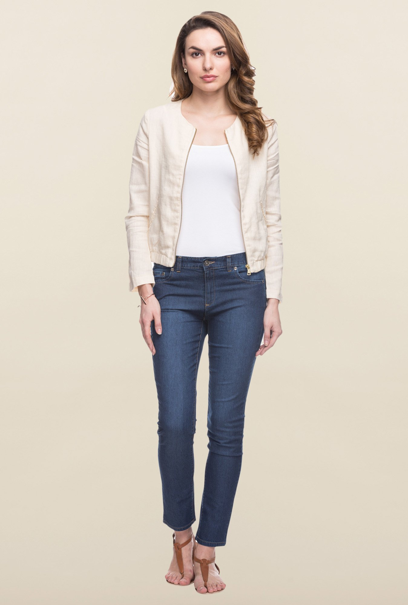 Cottonworld Ivory Solid Linen Jacket