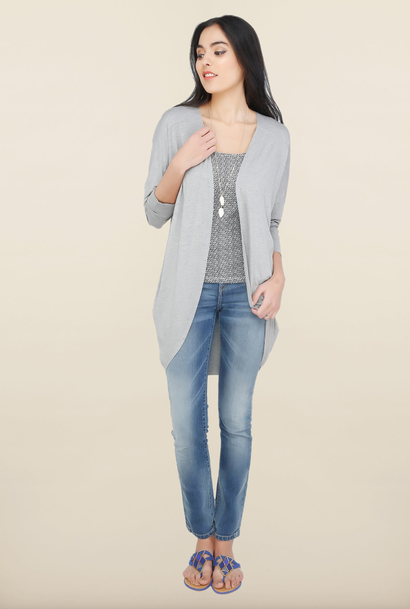 Cottonworld Grey Solid Cardigan