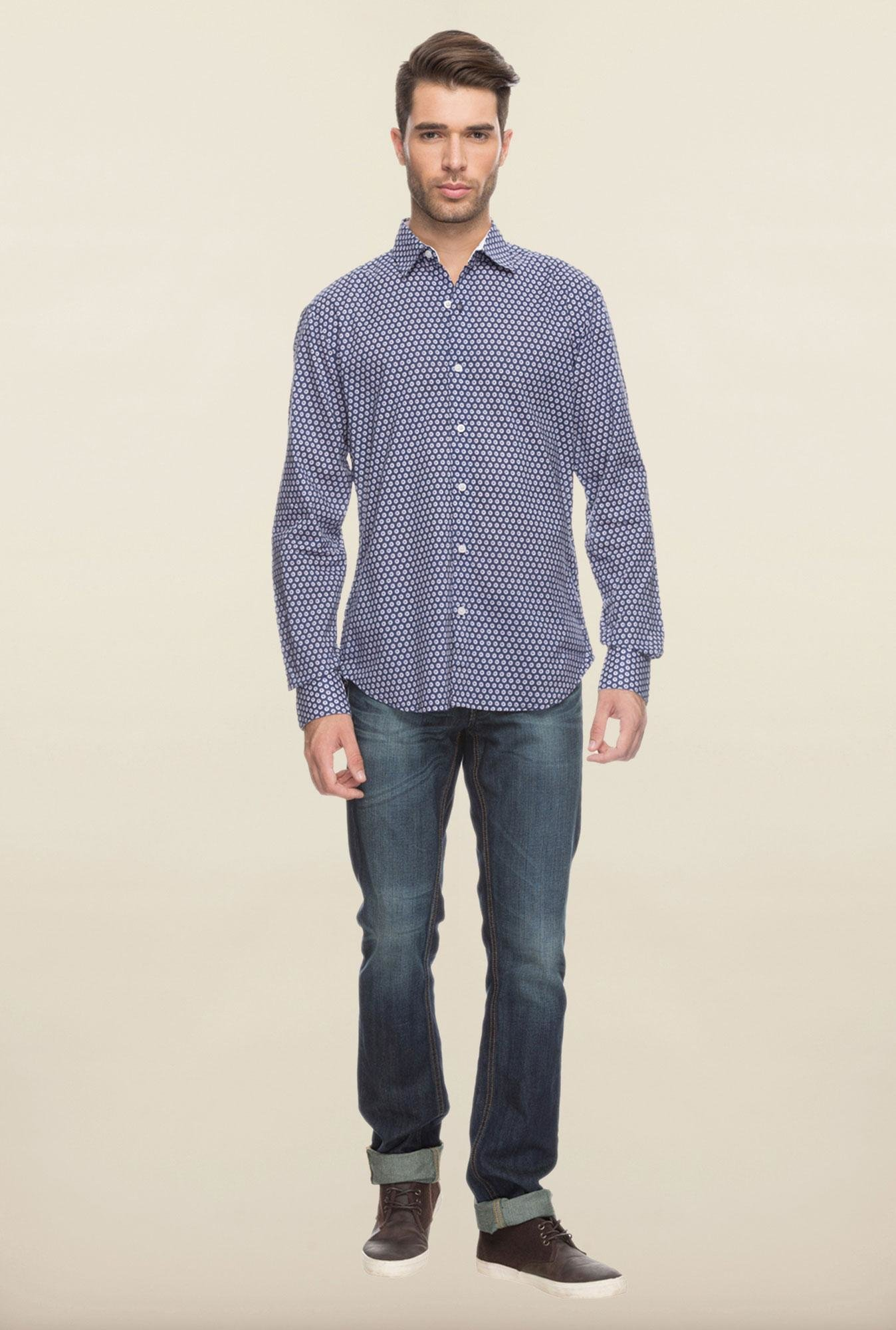 Cottonworld Crest Blue Printed Casual Shirt
