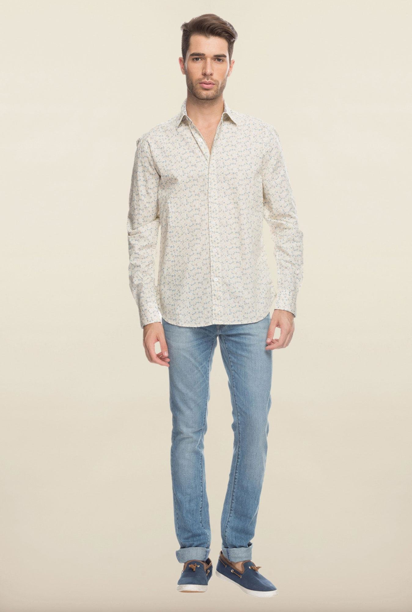 Cottonworld Beige Printed Casual Shirt