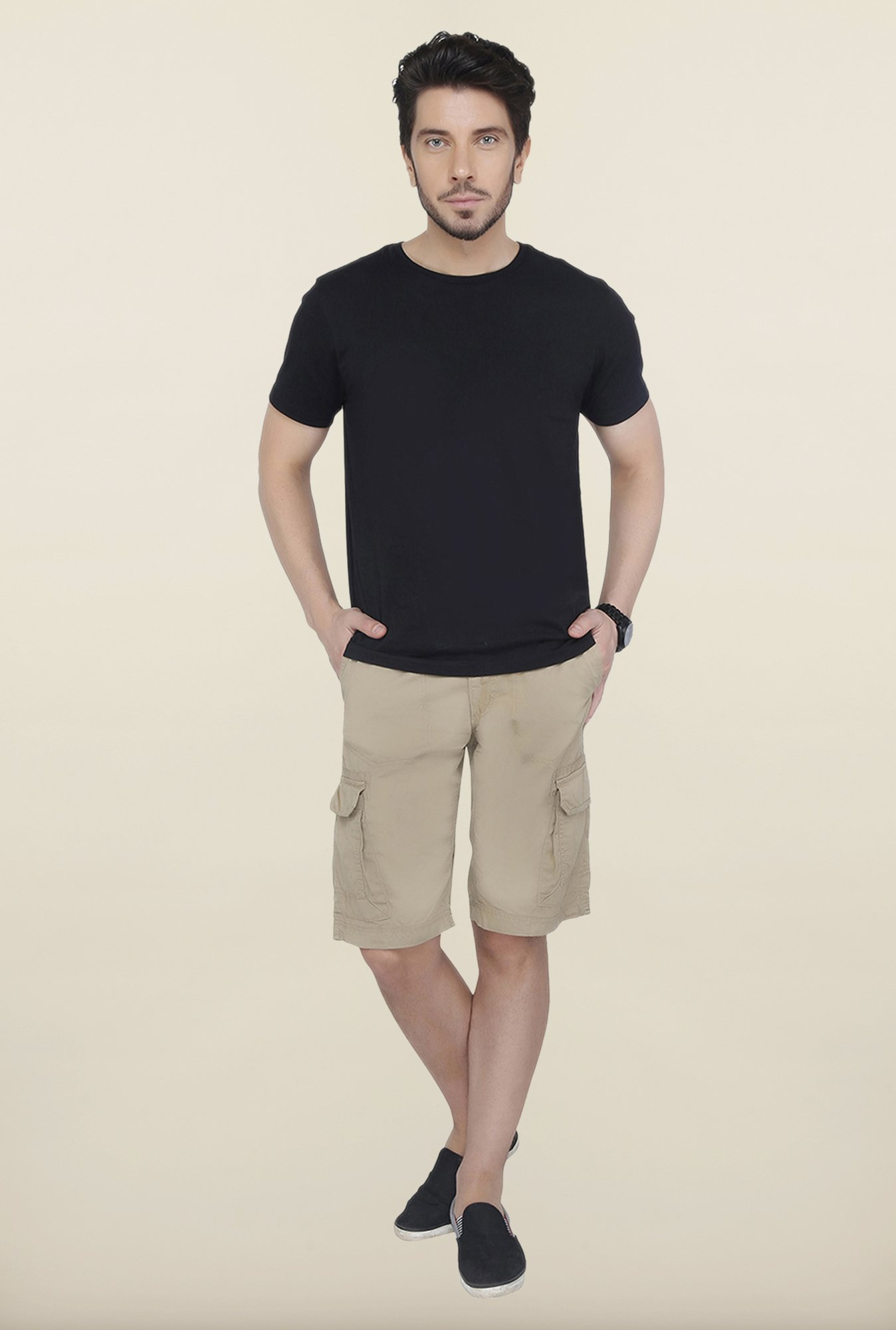 Cottonworld Khaki Solid Cotton Shorts