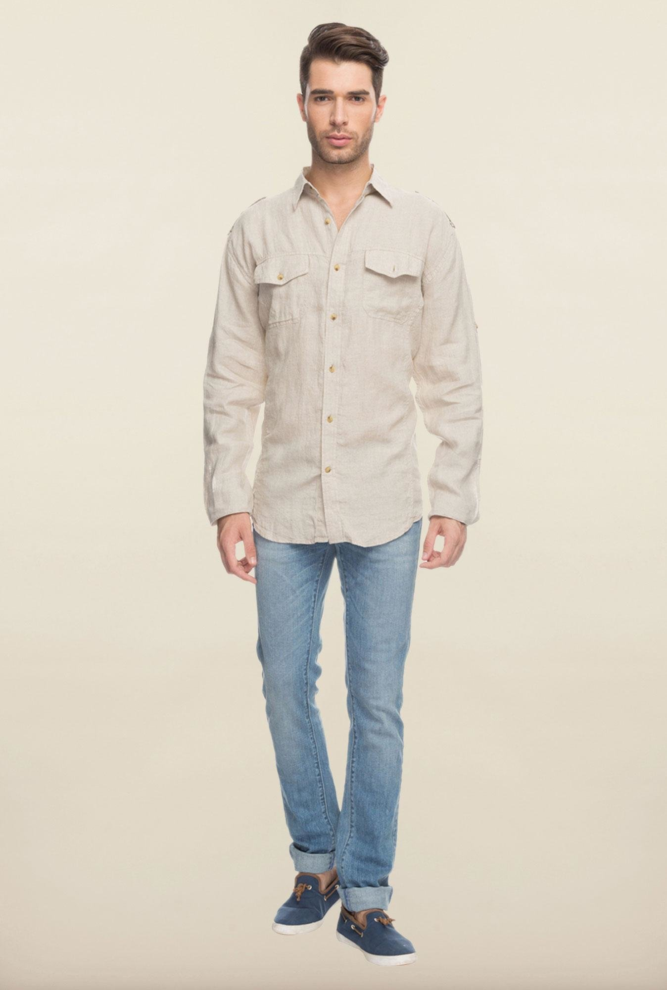 Cottonworld Beige Solid Casual Shirt