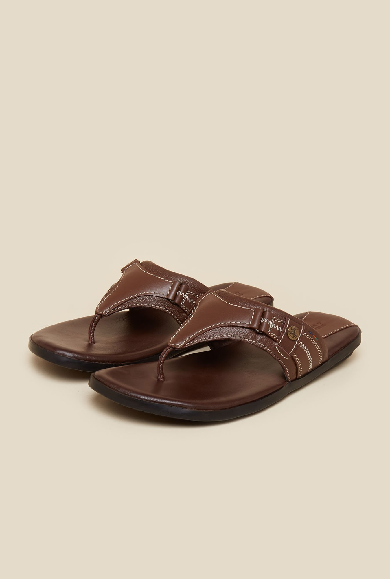 Buckaroo Paxton Brown Leather Thong Sandals
