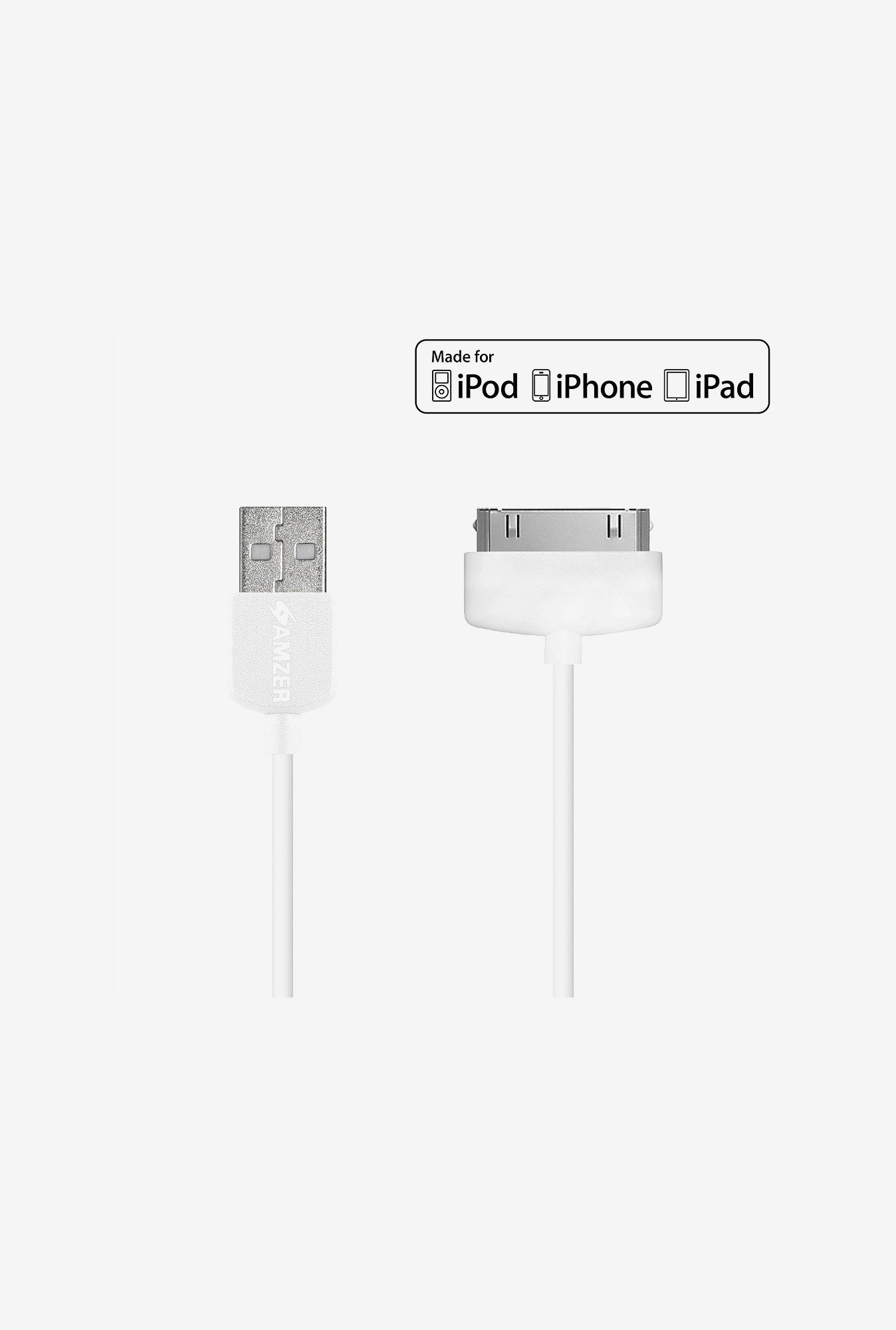Amzer Apple MFi Certified 1M 30-Pin to USB Cable White