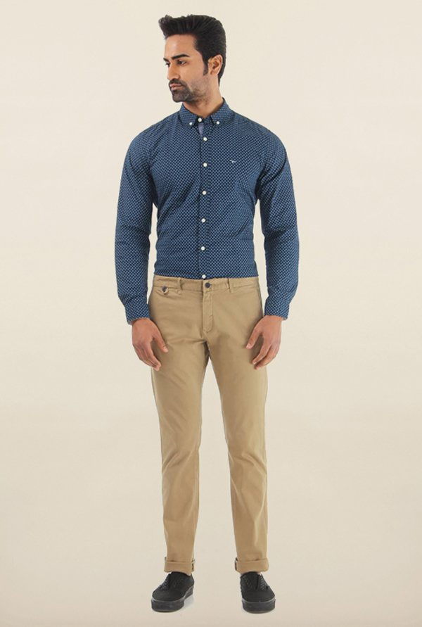 Shapes Khaki Solid Slim Fit Chinos