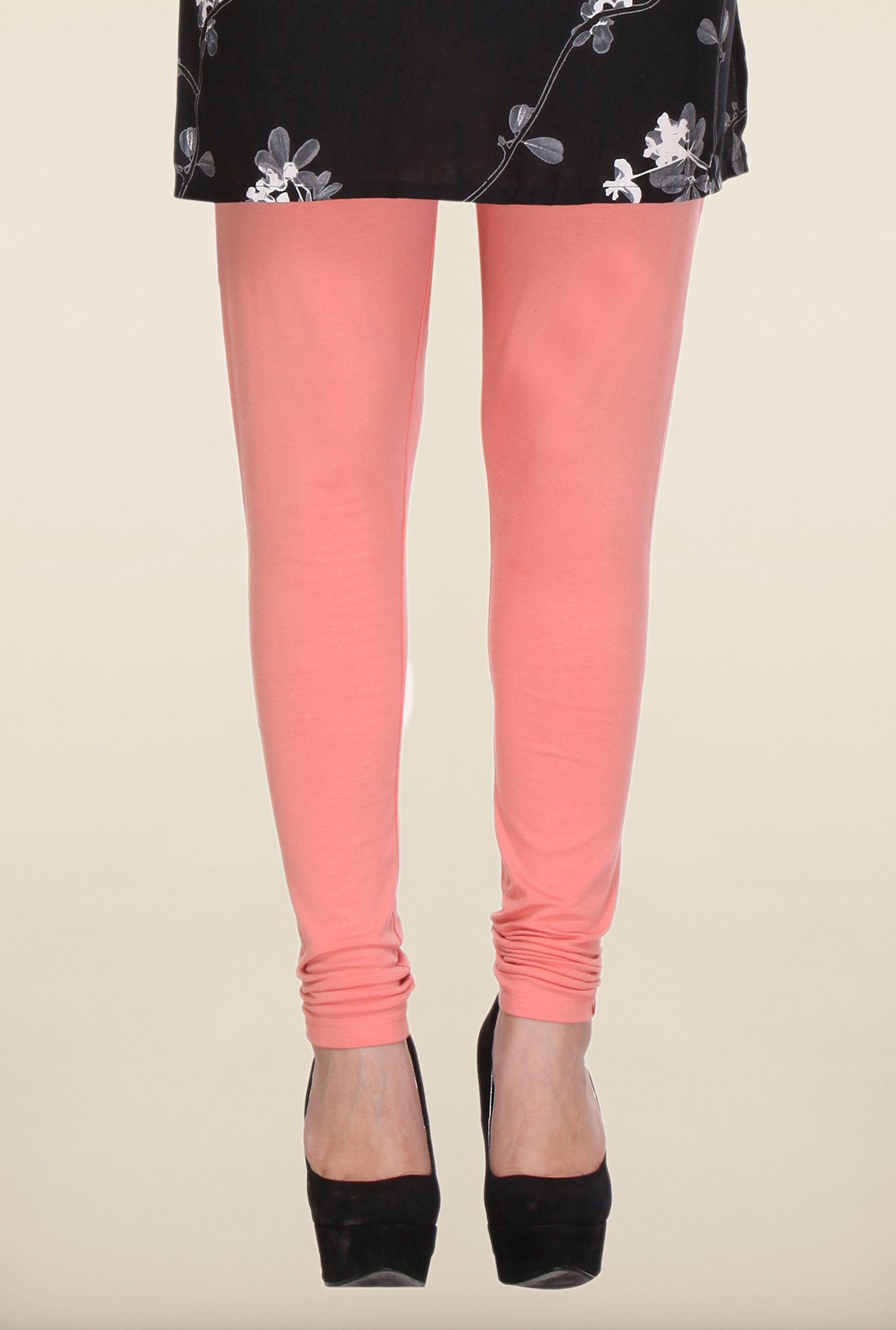 W Peach Solid Leggings