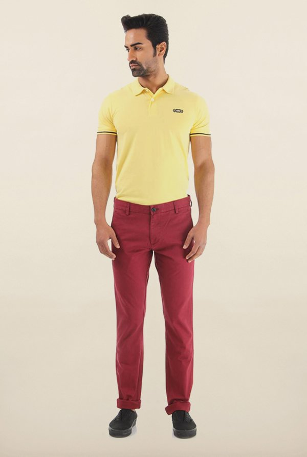 Shapes Plum Solid Slim Fit Chinos