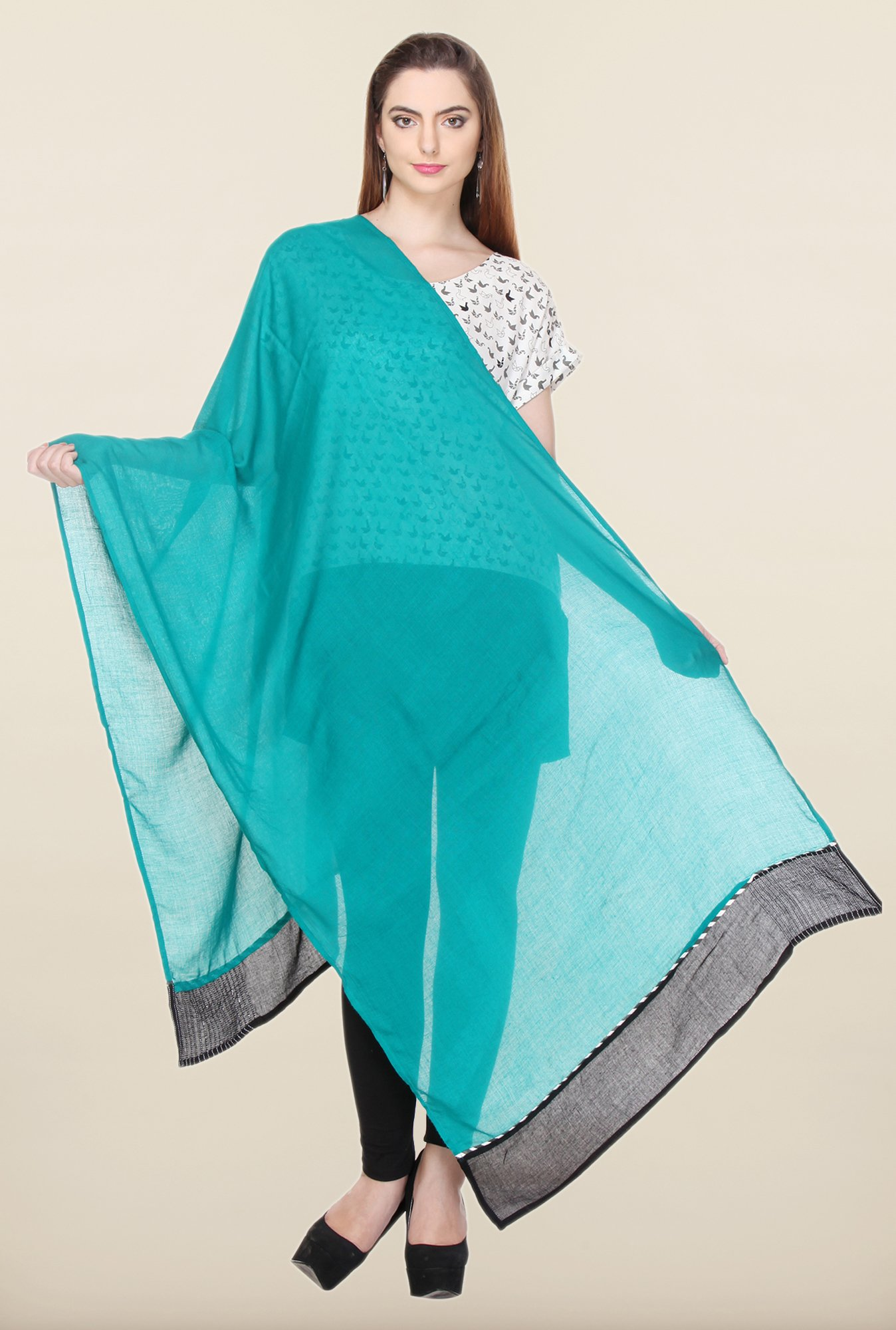 W Turquoise Solid Dupatta