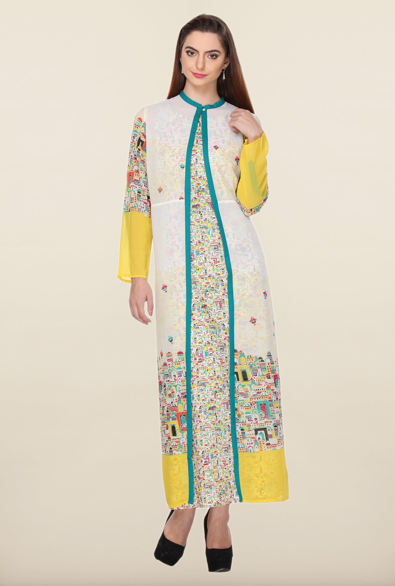 W White Architecture Printed Kurta