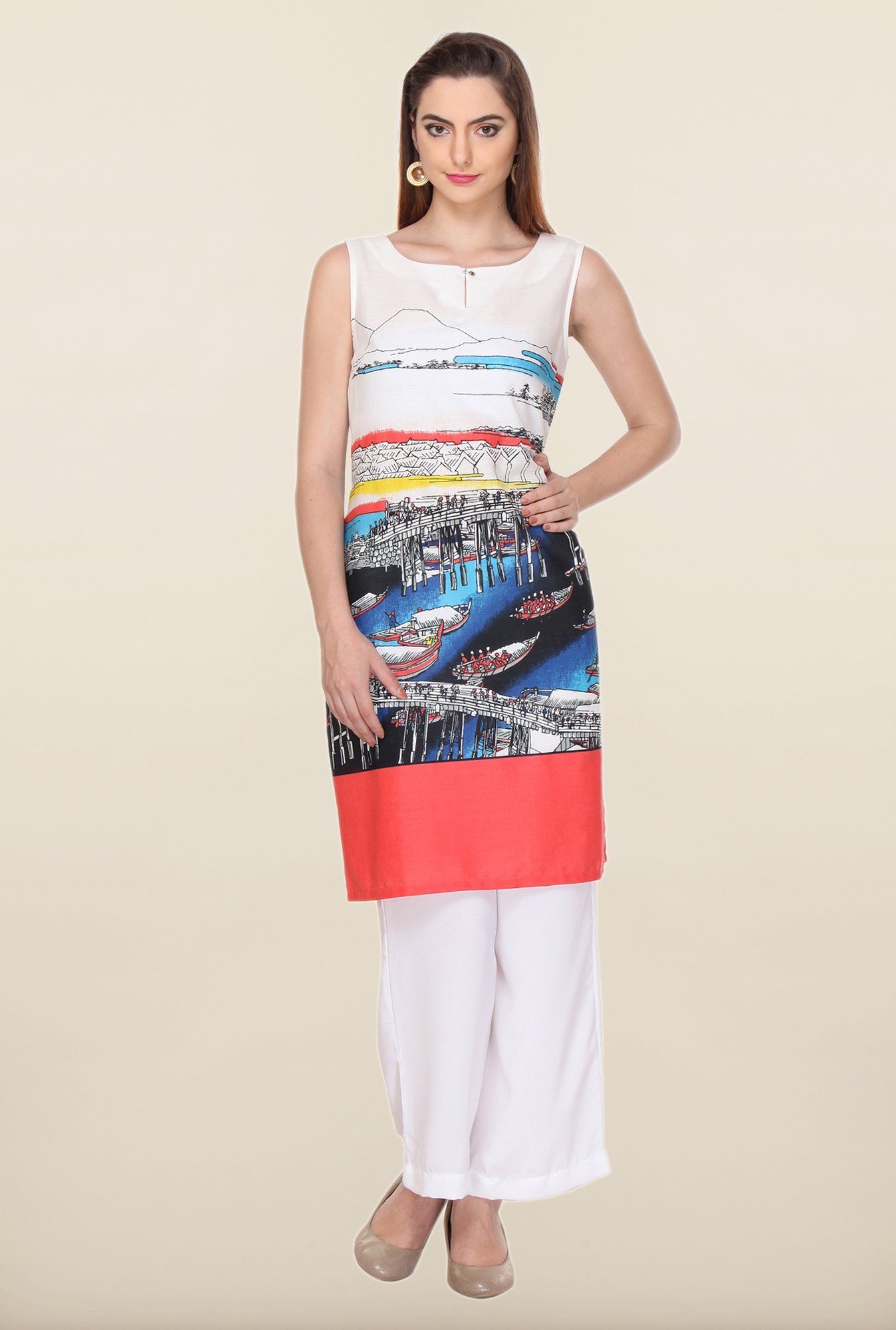 W White Printed Cotton Kurti