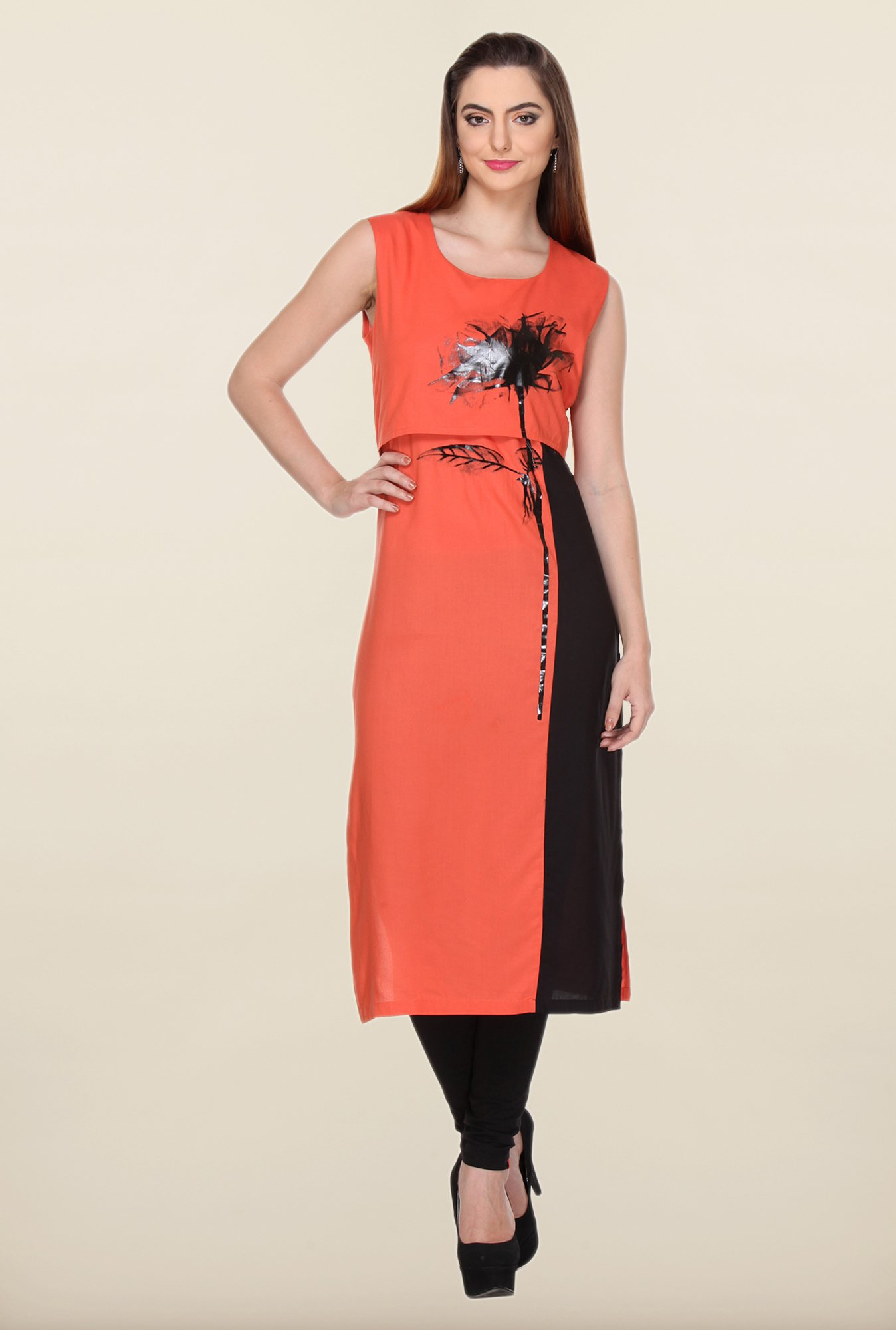 W Orange Printed Kurta