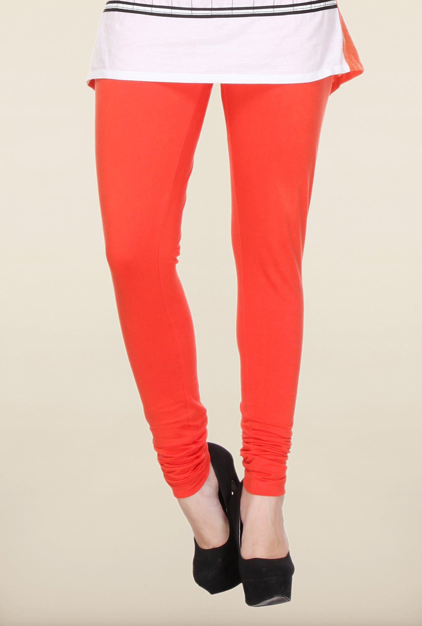 W Red Solid Cotton Leggings