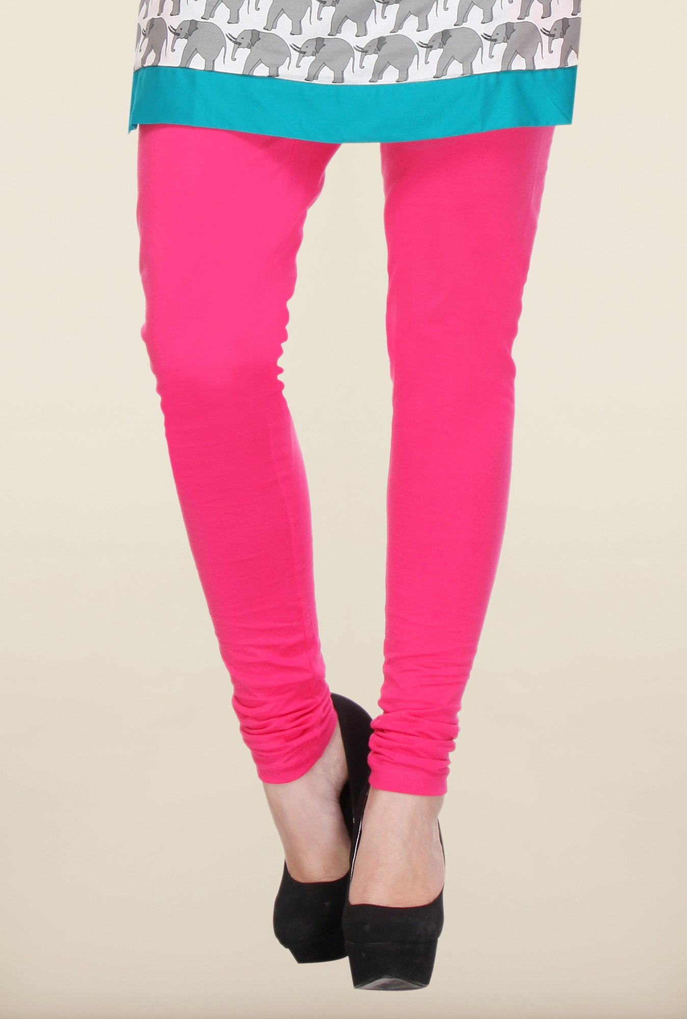 W Dark Pink Solid Leggings