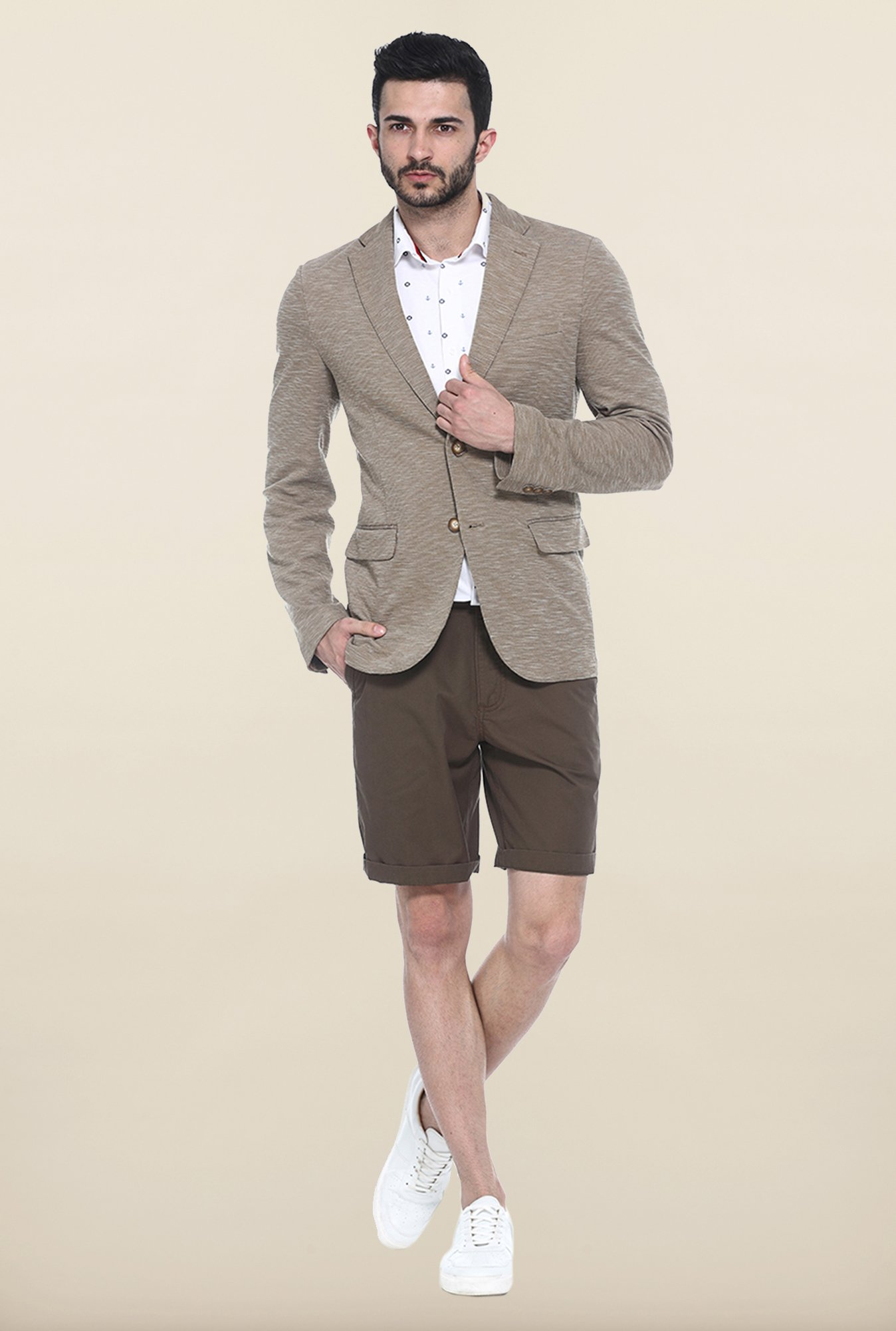 Basics Mid Brown Slim Fit Casual Blazer