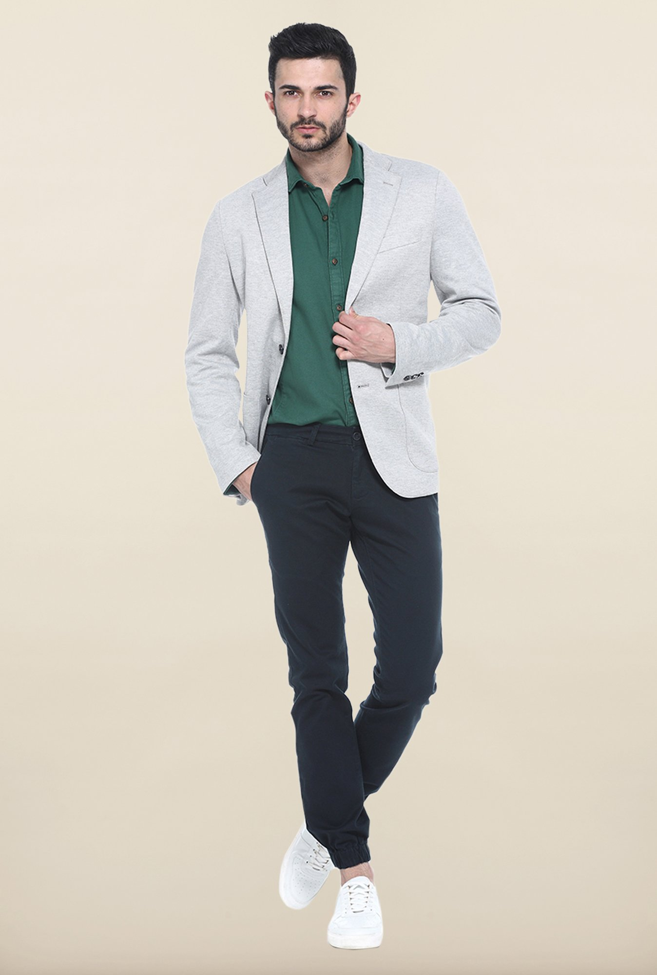 Basics Light Grey Slim Fit Casual Blazer