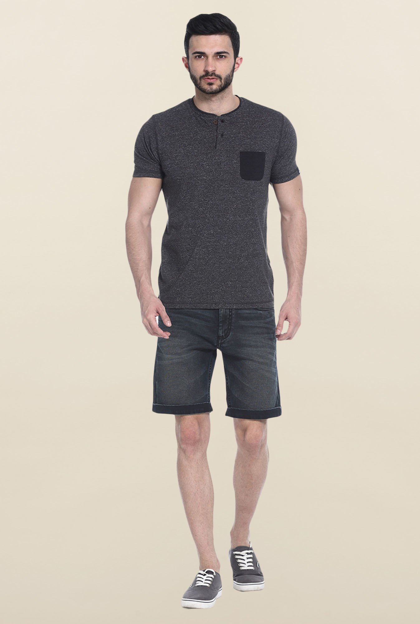 Basics Dark Grey Short Sleeves Solid T-Shirt