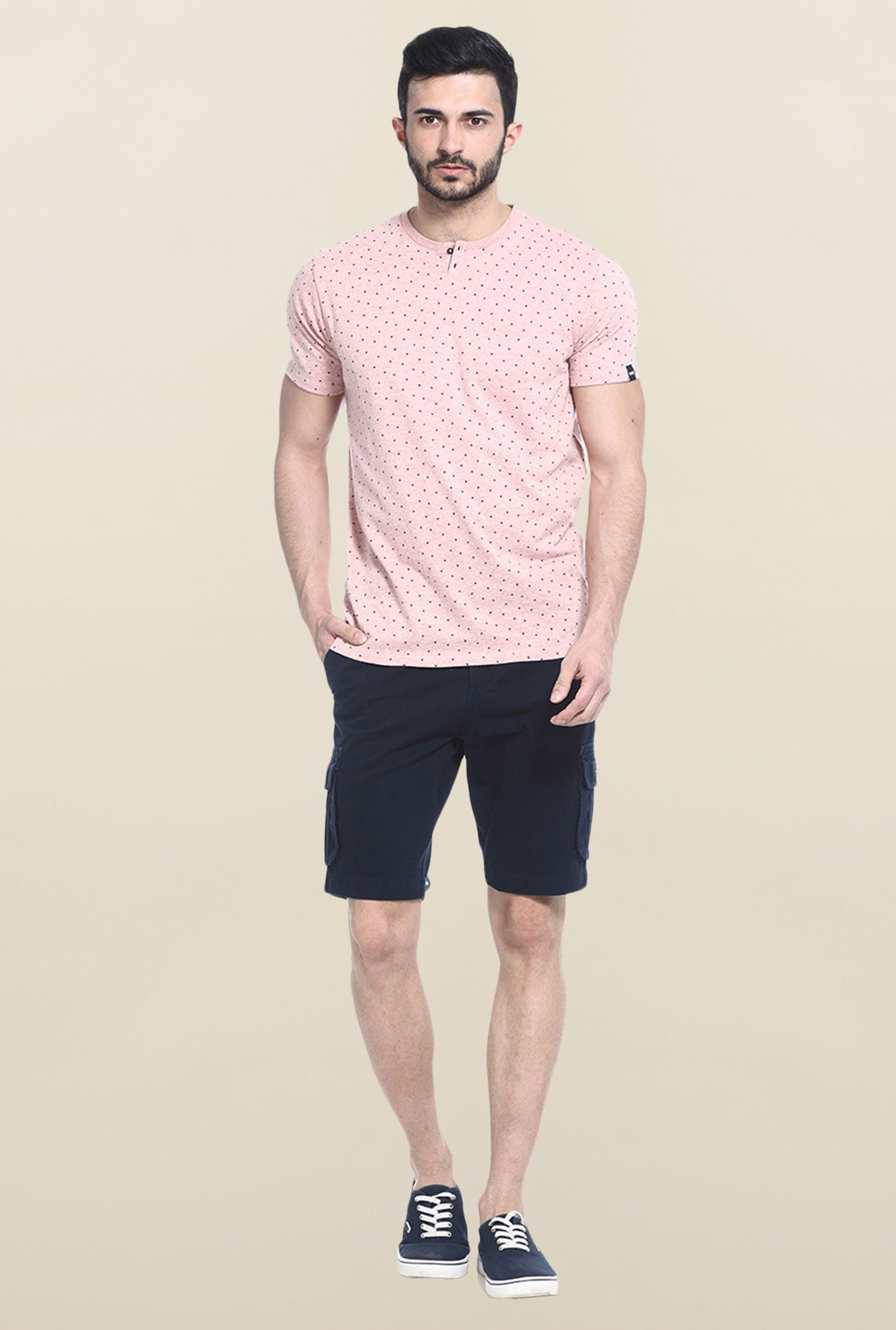 Basics Peach Printed Slim fit T-Shirt
