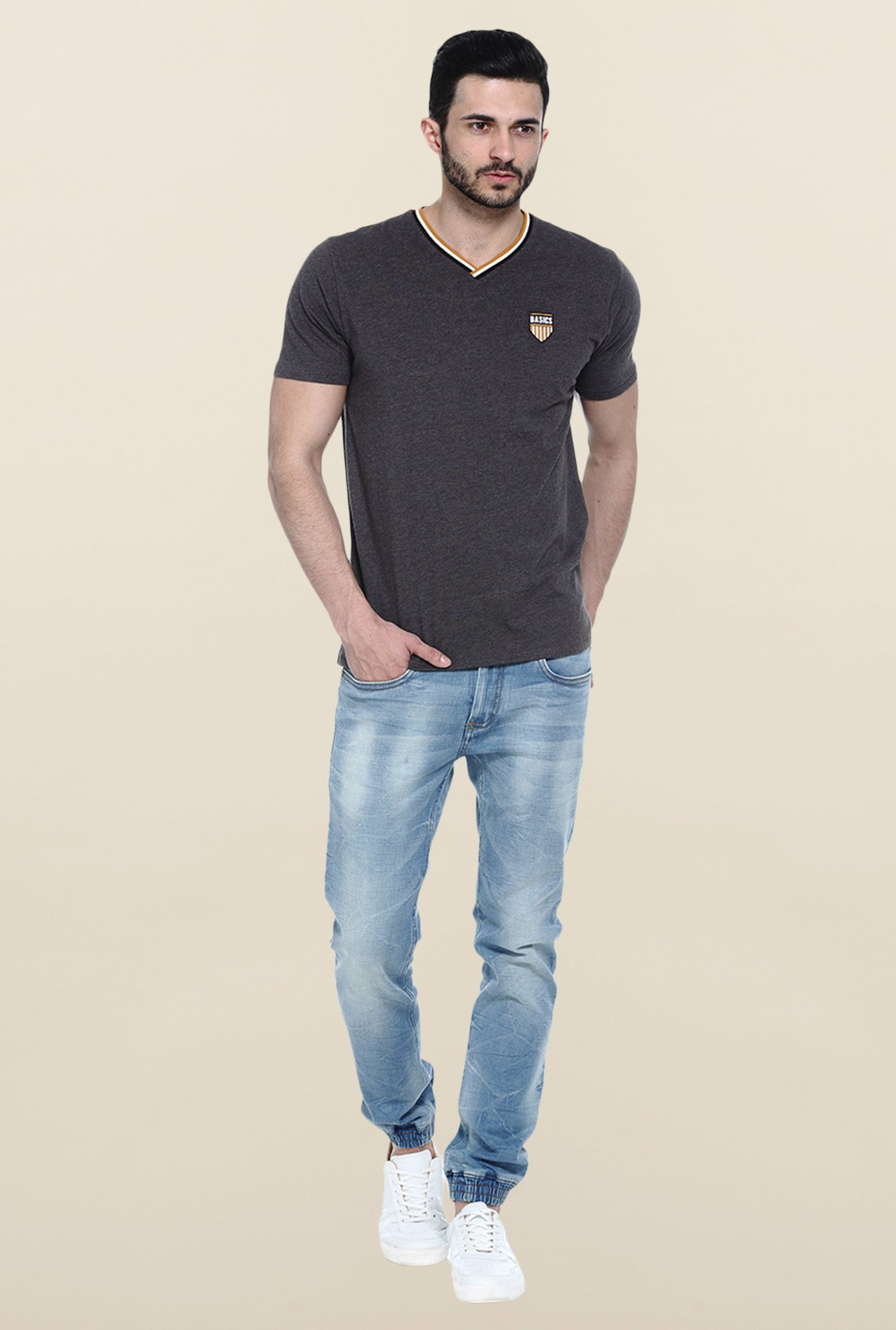 Basics Dark Grey Solid Slim fit T-Shirt