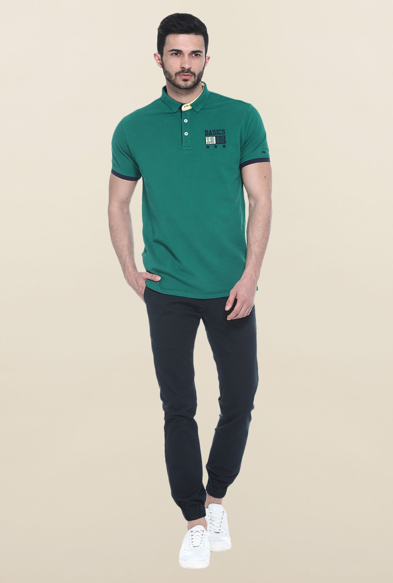 Basics Green Slim Fit Polo T-Shirt