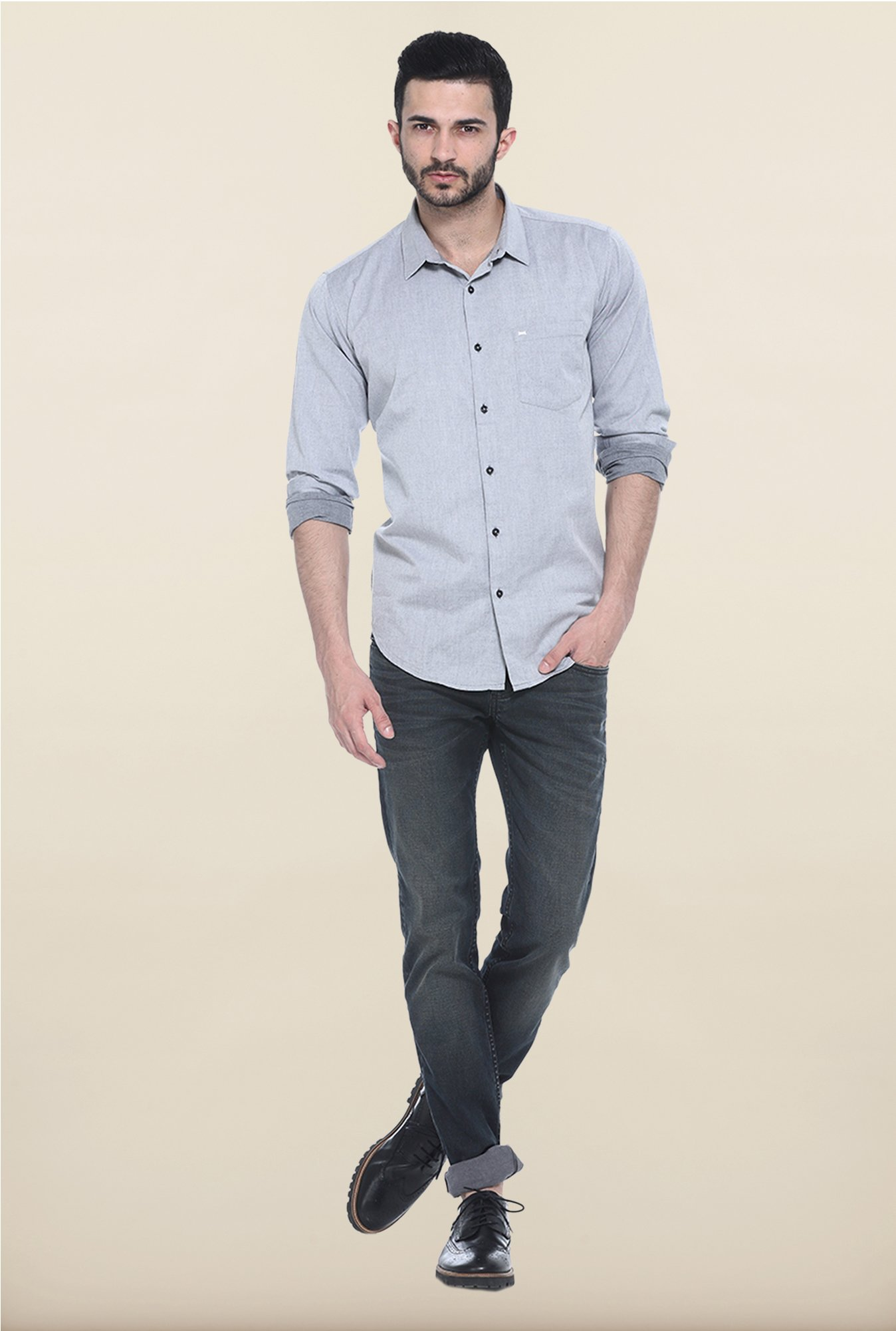 Basics Grey Solid Casual Shirt