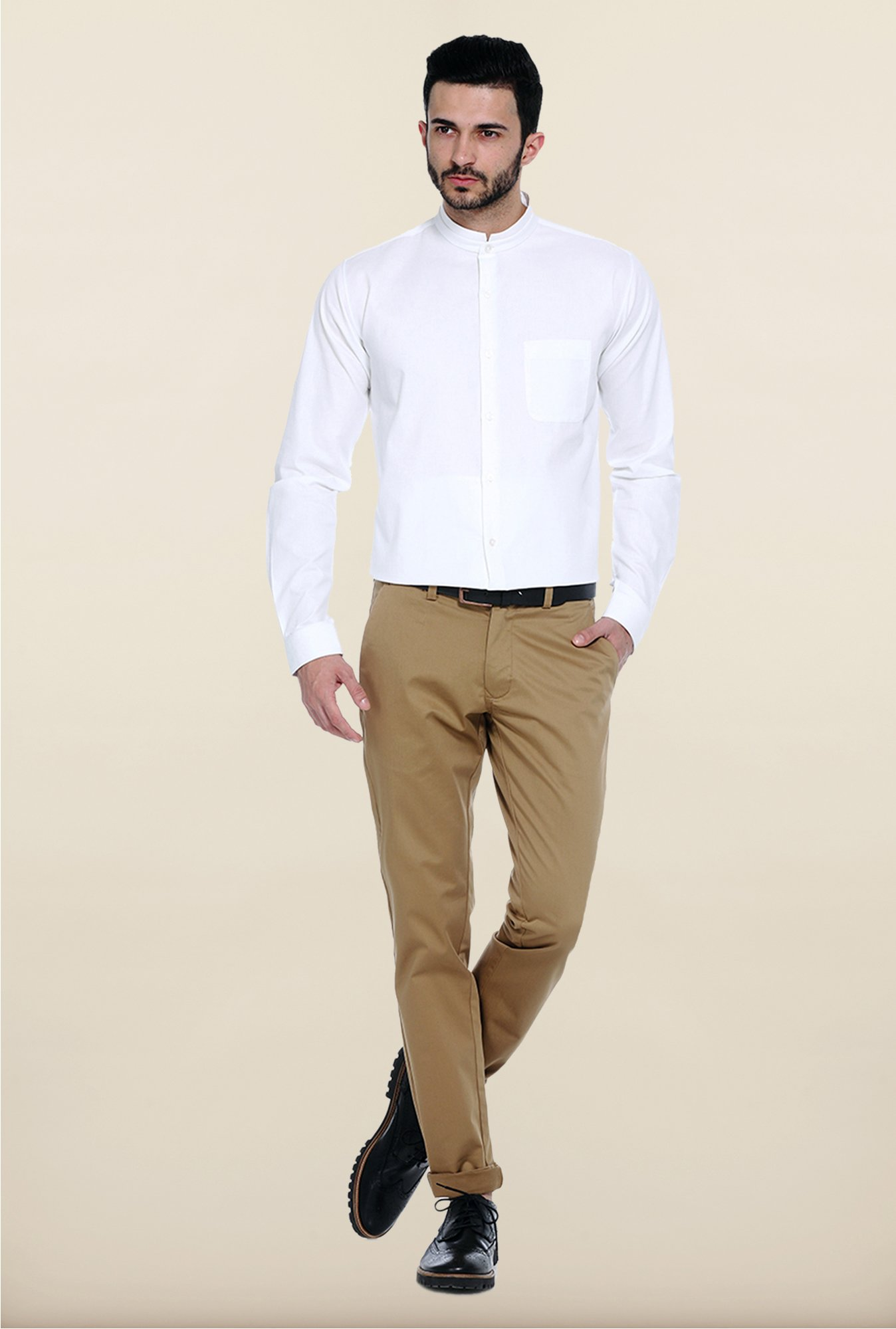 Basics Beige Solid Straight Fit Chinos