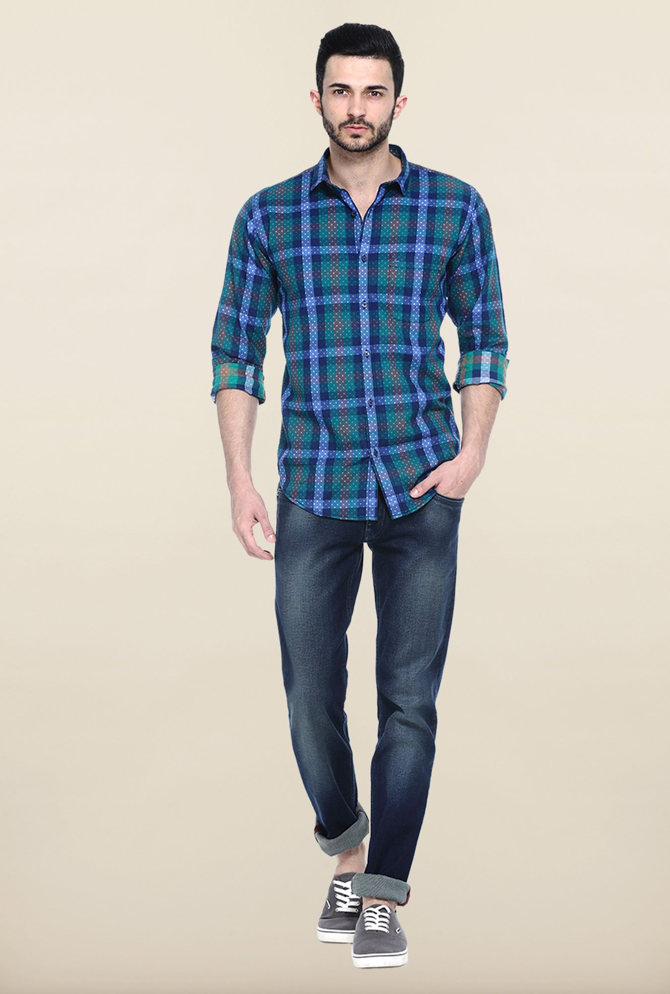 Basics Blue And Green Checked Cotton Shirt