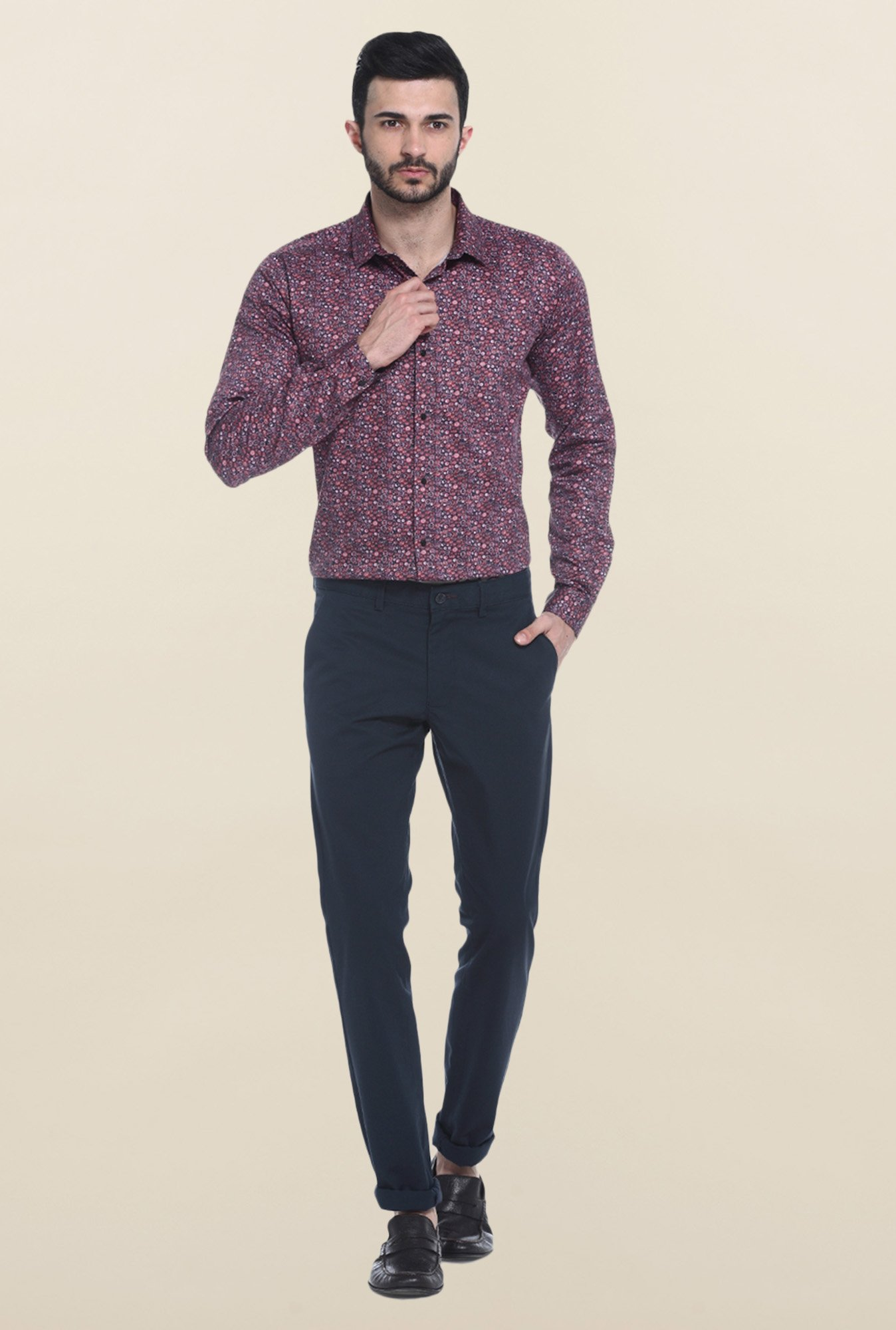 Basics Purple Printed Casual Shirt