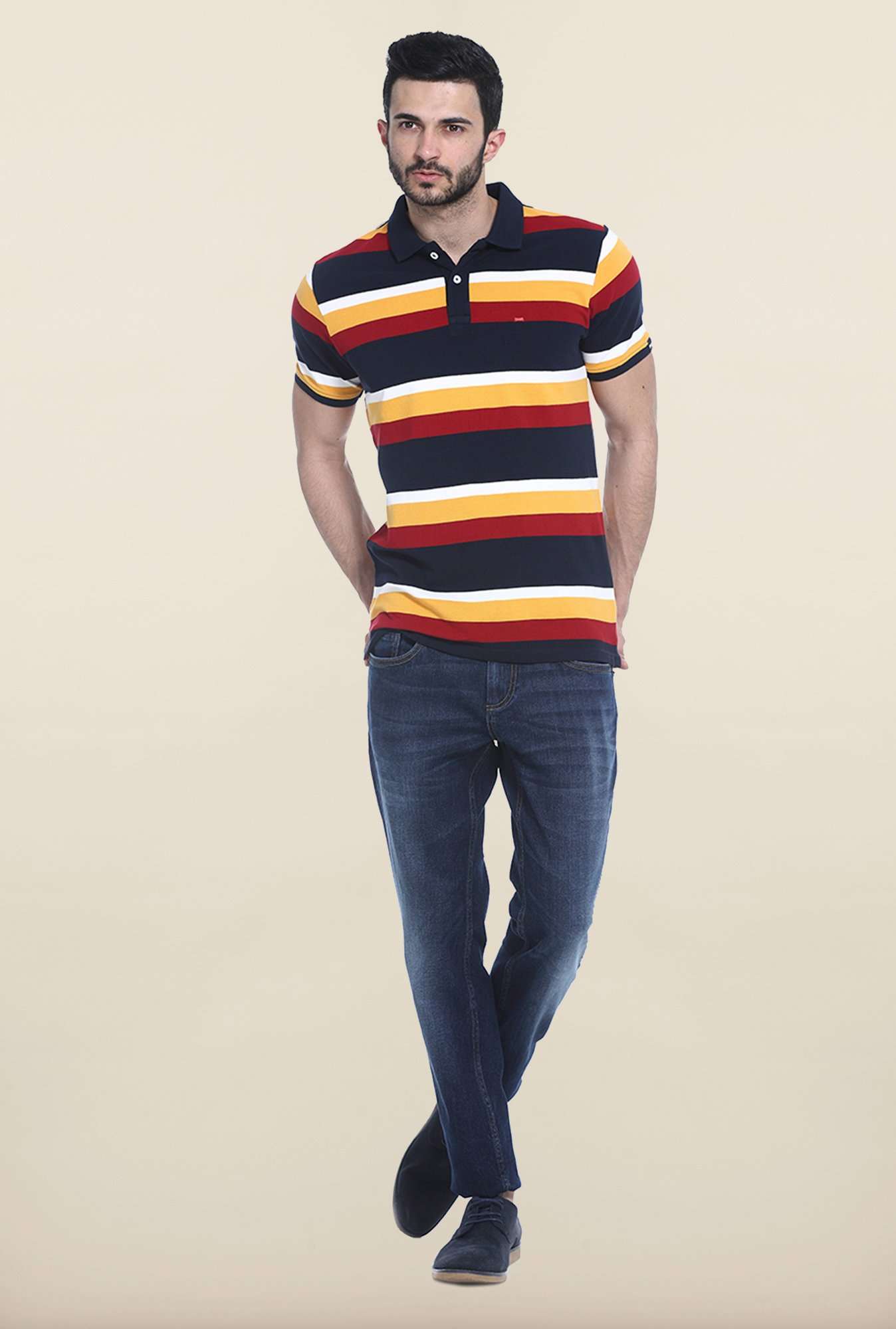 Basics Navy & Yellow Polo T-Shirt