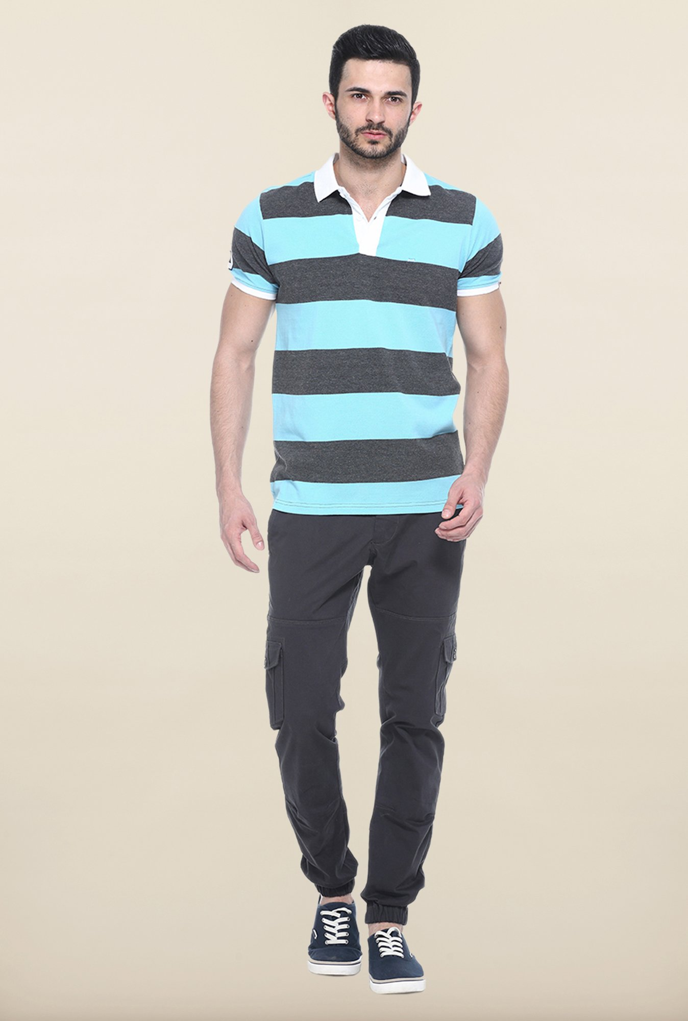 Basics Aqua Blue & Grey Polo T-Shirt