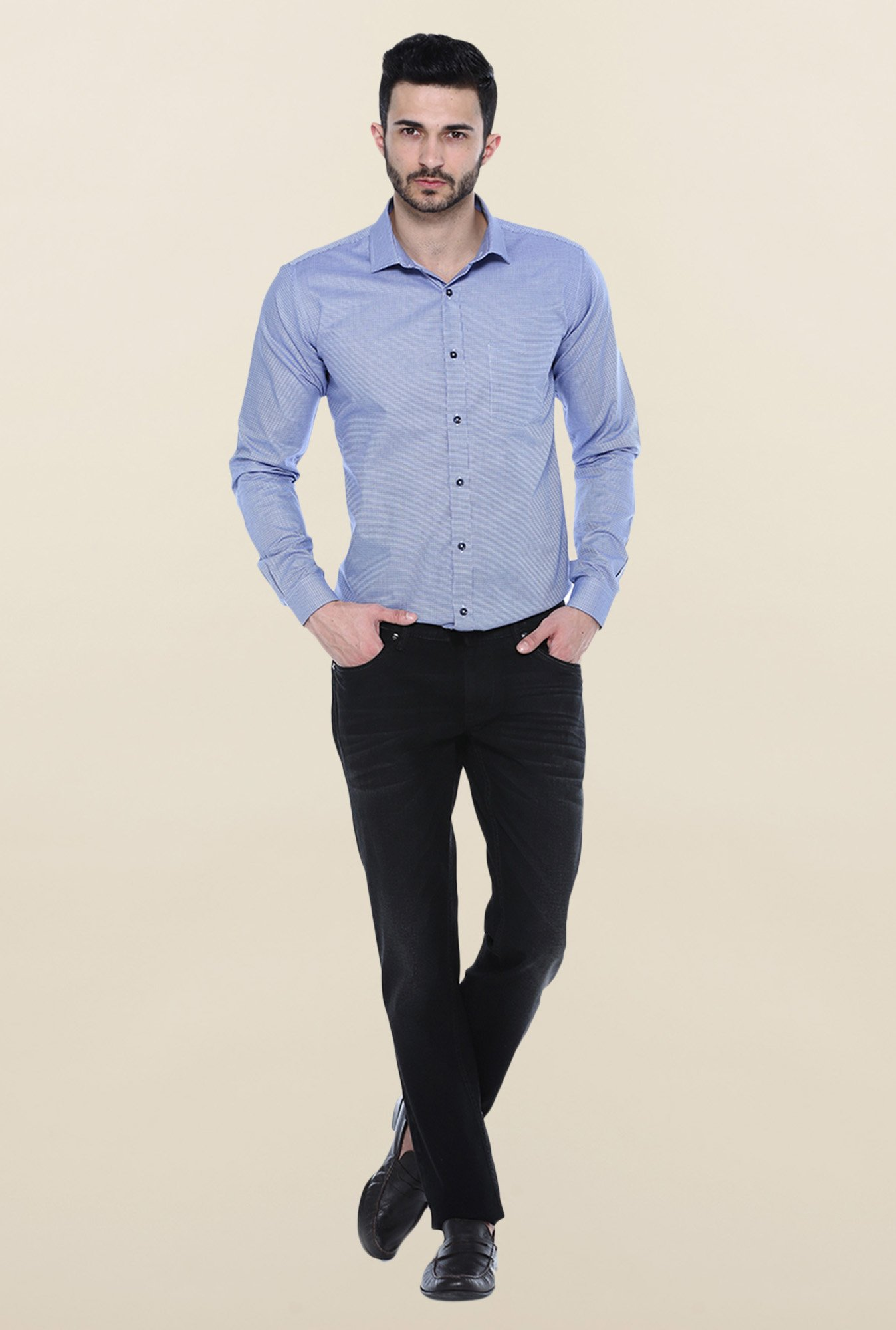 Basics Blue Checks Casual Shirt