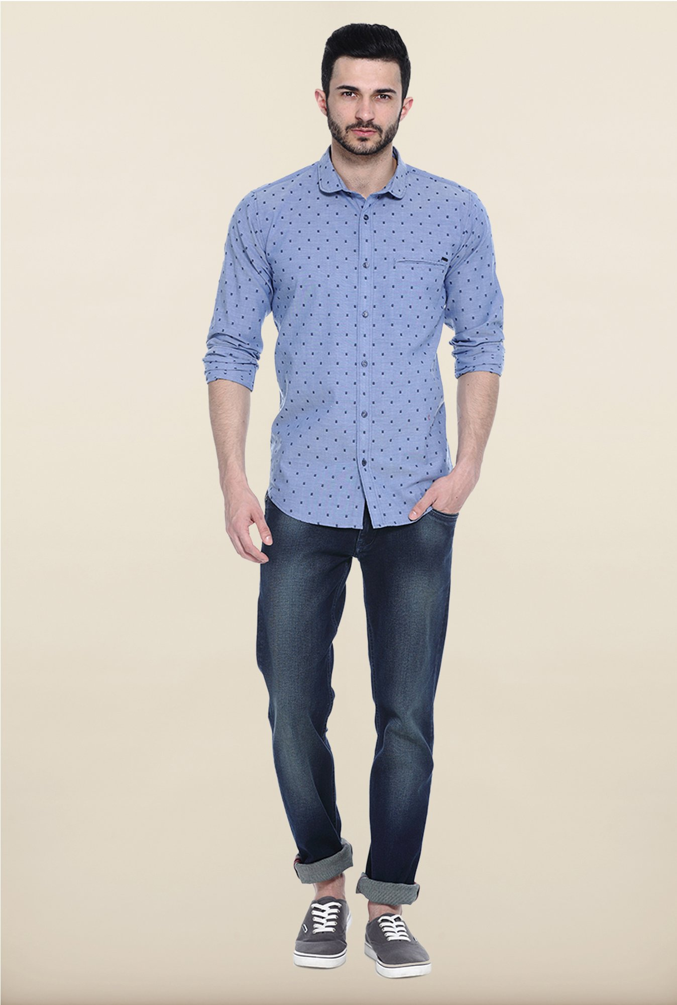 Basics Blue Dot Print Slim Fit Cotton Casual Shirt
