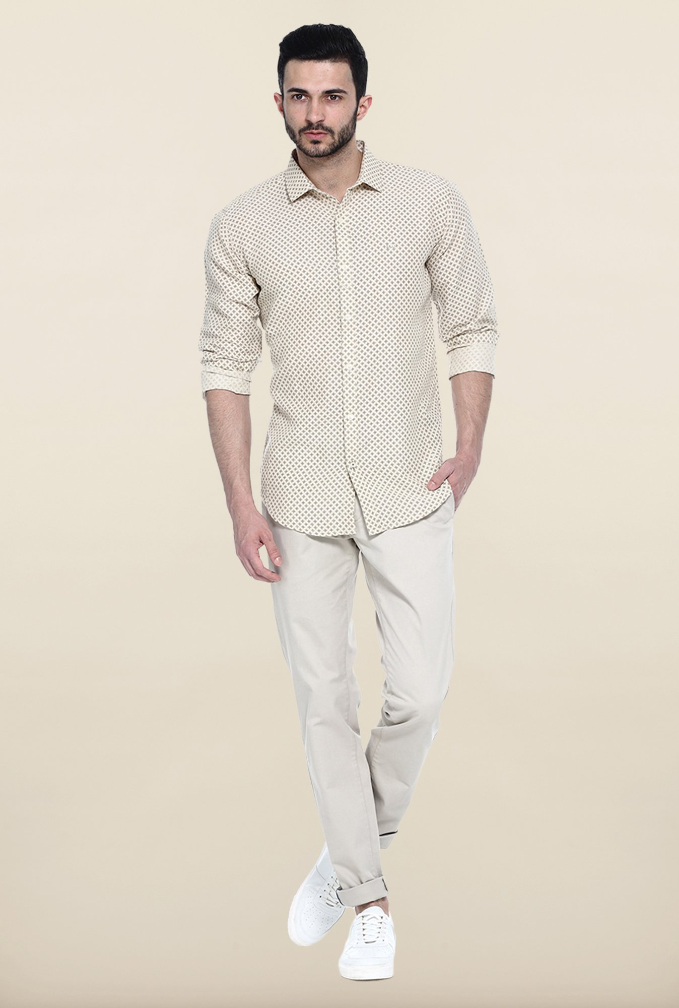 Basics Beige Printed Casual Shirt